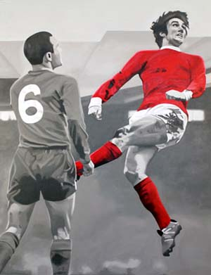 Chris Beas:<EM> And the Number One Was Georgie Best...,</EM> 201346 x 48 in. Acrylic on canvas on panel. Courtesy of the artist and Martha Otero Gallery©Chris Beas.