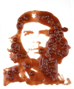Vik Muniz: <EM>Che (Black Beans),</EM> after Alberto Korda, 2000Digital C-print, 150x120Courtesy of Xippas Galleries