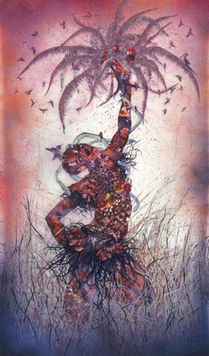 Wangechi Mutu (Kenyan, b. 1972). <EM>Le Noble Savage</EM>, 2006Ink and collage on Mylar, 91¾ x 54 in. (233 x 137.2 cm). Collection of Martin and Rebecca Eisenberg, Scarsdale, New YorkImage courtesy of the artist© Wangechi Mutu