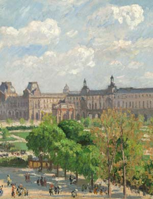 "<SPAN class=pie _extended=""true"">Camille Pissaro (French, 1830-1903):<EM> Place du Carrousel, Paris 1900</EM>Oil on canvas, 21 5/8 x 25 3/4 inchesNational Gallery of Art, Washington, D.C.Ailsa Mellon Bruce Collection, 1970.17.55.</SPAN>"