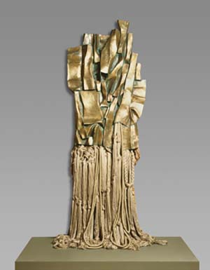 Barbara Chase-Riboud: <EM>Malcolm X #3</EM>, 1969Polished bronze, rayon, and cotton299.7 × 120 × 25.1 cmBase: 70.5 × 40 cm