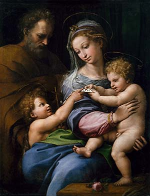 "<SPAN class=pie _extended=""true"">Raphael (Italian 1483–1520):  <EM>Holy Family with Saint John or Madonna of the Rose (Sacra Famiglia con san Giovannino o Madonna della Rosa)</EM> c.1517Ol on canvas, 103.0 x 84.0 cmMuseo Nacional del Prado, Madrid (P00302)Spanish Royal Collection</SPAN>"