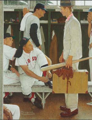 "<SPAN class=pie _extended=""true"">Norman Rockwell (1894-1978):<EM> The Rookie (Red Sox Locker Room), </EM>1957Oil on canvas; 41 x 39 in.Estimate: $20,000,000-30,000,000Photo: Christie's Images Ltd 2014</SPAN>"