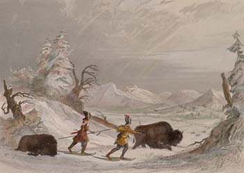 Seth Eastman (1808–1875), <EM>Hunting the Buffalo in Winter</EM>Plate 10, printed by R. HinshelwoodFrom the collections of the Nicollet County Historical Society.