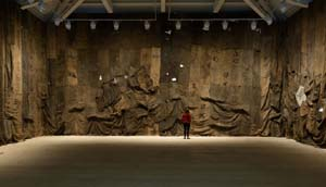 Ibrahim Mahama: Untitled, 2013Draped jute sacks wall installation