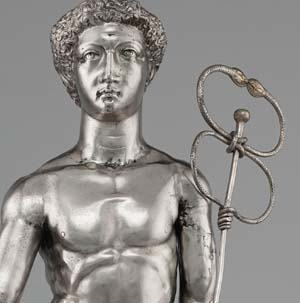 Mercury (detail), Roman, A.D. 175-225; silver and gold