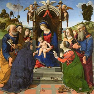 <P>Piero di Cosimo: <EM>Madonna and Child Enthroned with Saints Elizabeth of Hungary, Catherine of Alexandria, Peter, and John the Evangelist with Angels</EM>, 1493Oil and tempera on panel203 x 197 cm (79 7/8 x 77 1/2 in.)Museo degli Innocenti, Florence</P>