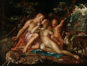 Joachim Wtewael (Utrecht 1566–1638 Utrecht), Venus and Adonis, 1607–10, oil on panel, HOHENBUCHAU COLLECTION, on Permanent Loan to LIECHTENSTEIN. The Princely Collections, Vienna, HB 32