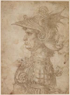 Leonardo da Vinci: <EM>A Bust of a Warrior</EM>, c. 1475/1480<BR>Silverpoint on prepared paper<BR>On loan from The British Museum, London <BR>© The Trustees of The British Museum, London<