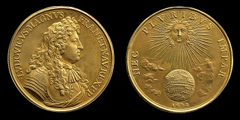 Gold medal. Obverse: portrait of Louis XIV facing right. Reverse: Louis XIV as the sun warming the earth. Made by Jean Warin, 1672.
