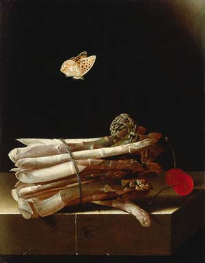 "<SPAN class=""caption caption-bottom"">Adriaen Coorte: <EM>Still Life with a Bundle of Asparagus, Red Cherries and a Butterfly</EM>, c. 1693 – 1695Private collection</SPAN>"