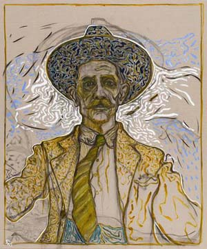Billy Childish: <EM>self portrait with tie</EM>, 2015oil and charcoal on linen72.05 x 60.04 inches183 x 152.5 cmLM21843