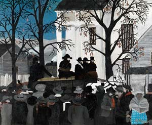Horace Pippin (American, 1888–1946): <EM>John Brown Going to His Hanging</EM>, 1942. Oil on canvas, 24 1/8 x 30 1/4 in. Photo: Pennsylvania Academy of the Fine Arts: John Lambert Fund Photograph courtesy of the Pennsylvania Academy of the Fine Arts.