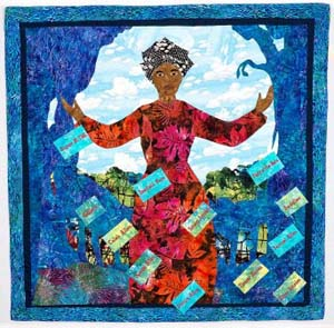 "<P>Lucy Terry Prince: <EM>The Griot's Voice</EM>, 2012Peggie HartwellSummerville, South Carolina47.5 x 48 in.Materials: Cotton fabric, cotton batting, cotton thread, nylon thread Techniques: Hand appliqué, machine appliqué, machine embroidery, machine quilting</P> • <P>1746: Lucy Terry, an enslaved person, becomes the earliest known African American poet when she writes about the last Native American attack on her village of Deerfield, Massachusetts. Abijah Prince, a freed slave, bought Lucy's freedom and married her. They would become parents of six children, and Mrs. Prince would become the family spokesperson who protected their personal and family rights. Her poem, ""Bar's Fight,"" will not be published until 1855.</P>"