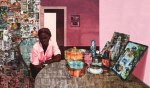 Njideka Akunyili Crosby (b. 1983), Before Now After (Mama, Mummy and Mamma), 2015Collection of the artist; courtesy Victoria Miro, London