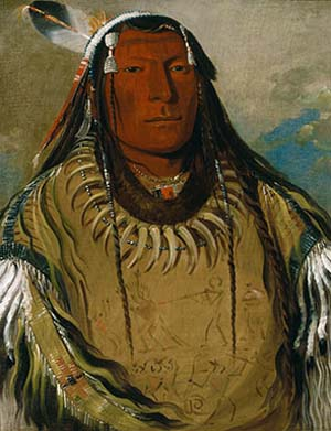 <SPAN class=pie>George Catlin: <EM>Pa-ris-ka-roó-pa, Two Crows, a Chief</EM>, 1832. Óleo sobre lienzo, 73,7 x 60,9 cm Smithsonian American Art Museum, Washington, D.C. Donación de Mrs. Joseph Harrison, Jr. </SPAN>
