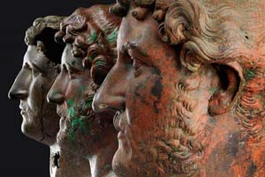 "<DIV style=""LEFT: -99999px; POSITION: absolute"">Bronze portraits of the Emperor Hadrian, from the British Museum (left); the Israel Museum (center);and the Louvre (right) [Credit: Elie Posner, Israel Museum, Jerusalem]Read more at: <A href=""http://archaeologynewsnetwork.blogspot.com/2015/12/hadrian-emperor-cast-in-bronze-at.html#.Vp1Zzk-LFqA"">http://archaeologynewsnetwork.blogspot.com/2015/12/hadrian-emperor-cast-in-bronze-at.html#.Vp1Zzk-LFqA</A>Follow us: @ArchaeoNewsNet on Twitter 