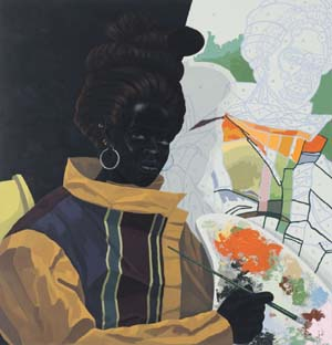 "<DIV class=attachment_image_caption><SPAN class=""attachment_image full_caption""><SPAN class=title>Kerry James Marshall: <EM>Untitled (Painter)</EM>, 2009Acrylic on PVC; 44 5/8 x 43 1/8 x 3 7/8 in. (113.4 x 109.5 x 9.8 cm).Collection Museum of Contemporary Art Chicago, gift of Katherine S. Schamberg by exchange, 2009.15© 2009 Kerry James Marshall</SPAN> <SPAN class=photo_credit>Photo: Nathan Keay, © MCA Chicago</SPAN></SPAN></DIV>"