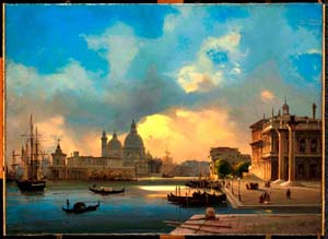 "<DIV style=""LEFT: -99999px; POSITION: absolute"">ppolito Caffi, ""Venice: The Molo at Sunset"", 1864, Oil on canvas 43×59 cm Visita il <A href=""http://correr.visitmuve.it/"">Museo Correr</A></DIV>Ippolito Caffi: <EM>Venice: The Molo at Sunset</EM>, 1864Oil on canvas 43×59 cm"