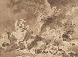 Jean Honoré Fragonard (French, 1732–1806). <EM>Rinaldo in the Enchanted Forest,</EM> ca.1763. Brown wash over very light black chalk underdrawing; 13 3/16 x 18 in. (33.5 x 45.7 cm). The Metropolitan Museum of Art, New York