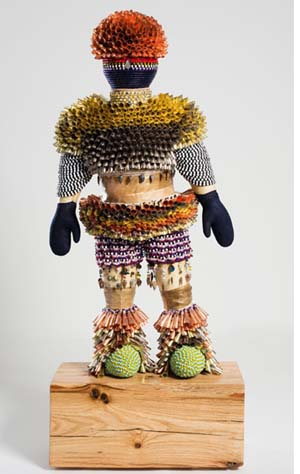 <P>Jeffrey Gibson: <EM>Come Alive! (I Feel Love</EM>), 2016 Acrylic felt, rawhide, wood, glass beads, stone arrowheads, steel wire, assorted beads, tin and copper jingles, artificial sinew, acrylic paint, druzy quartz crystal, steel and brass studs, 66.25 x 28 x 15 in. Collection of the Newark Museum, 2016Image Courtesy Jeffrey Gibson Studio. Photograph © Peter Mauney</P>