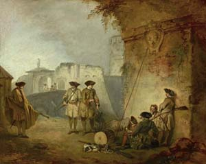 Jean-Antoine Watteau (1684–1721), <EM>The Portal of Valenciennes (La Porte de Valenciennes), </EM>ca. 1710–11Oil on canvas, 12 3/4 x 16 in. The Frick Collection.Purchased with funds from the bequest of Arthemise Redpath, 1991 (91.1.173)Photo Michael Bodycomb