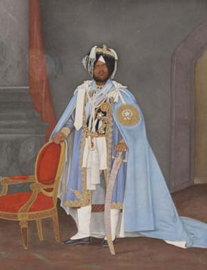 Portrait of Maharaja Mahinder Singh of Patiala, 1870–1876. India; Punjab state, former kingdom of PatialaOpaque watercolors and gold on paperAsian Art MuseumGift of the Kapany Collection, 1998.106Photograph © Asian Art Museum