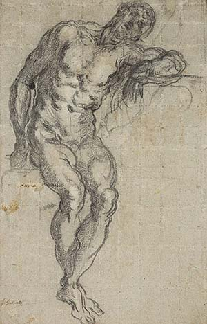 <P>Tintoretto (1518-1594), <EM>Study of a seated nude,</EM> ca. 1549, black and white chalk on blue paper. Louvre 5385© RMN-Grand Palais / Art Resource, N.</P>