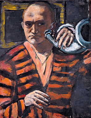 <P>Max Beckmann: <EM>Self-portrait with horn</EM>, 1938 (detail).Oil on canvas, 43 1/4 × 39 1/4 in. (109.9 × 101 cm)Neue Galerie New York and Private collection. </P>