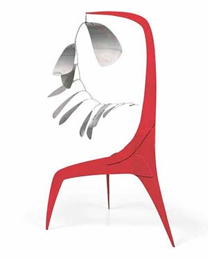 Alexander Calder (1898-1976),<EM> Aluminum Leaves, Red Post</EM>, 1941, sheet metal, wire and paint. The Lipman Family Foundation. © 2018 Calder Foundation, New York / Artists Rights Society (ARS), New York / SOCAN, Montreal. Photo courtesy Whitney Museum, New York.