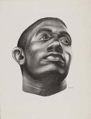 <P>Charles White (American, 1918-1979), Gideon, 1951. Lithograph in black on ivory wove paper, printed by Robert Blackburn (American, 1920–2003)© The Charles White Archives Inc.</P> • <P> </P>