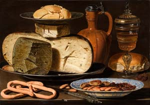 Clara Peeters: <EM>Still Life with Cheeses, Almonds and Pretzels</EM>, c. 1615Mauritshuis, The Hague.