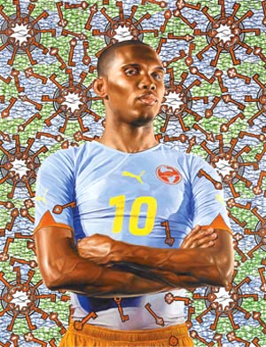 Kehinde Wiley:<EM> Samuel Eto'o,</EM> 2010Oil on canvas, 72 x 60 inches. Private Collection Courtesy of the artist and Roberts & Tilton, Los Angeles, California