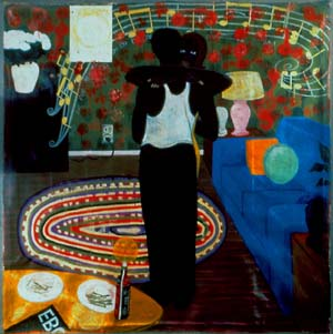 Kerry James Marshall, <EM>Slow Dance</EM> 1992-1993Acrylic and collage on canvas, 75 1/4 × 74 1/4 in. (191.1 × 188.6 cm). The David and Alfred Smart Museum of Art, University of Chicago, Purchase, Smart Family Foundation Fund for Contemporary Art, and Paul and Miriam Kirkley Fund for Acquisitions © Kerry James Marshall.
