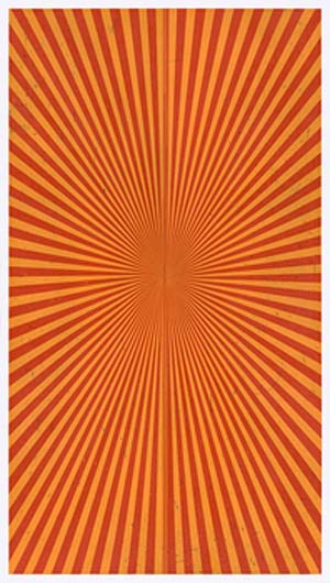 Mark Grotjahn, Untitled (Poppy Red and Yellowed Orange <EM>Butterfly</EM> 48.90), 2016, color pencil on paper, 76 × 42 inches (193 × 106.7 cm) © Mark Grotjahn