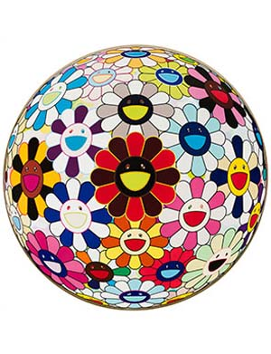 Takashi Murakami: <EM>Flower Ball (Lots of Colors)</EM>, 2008. Acrylic and platinum leaf on canvas mounted on board, 59 in. (150 cm) diameter. Cari and Michael J. Sacks © 2008 Takashi Murakami/Kaikai Kiki Co., Ltd. All Rights Reserved. Photo: Nathan Keay.