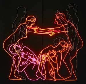 Bruce Nauman:<EM> Sex and Death by Murder and Suicide</EM>, 1985. Neon tubing mounted on aluminium monolith, 198 x 199 x 32 cm.&nbsp;Emanuel Hoffmann Foundation, on permanent loan to the Öffentliche Kunstsammlung Basel. Photo: Bisig &amp; Bayer, Basel.