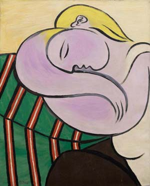 Pablo Picasso:<EM>Woman with Yellow Hair (Femme aux cheveux jaunes),</EM> December 27, 1931Oil and Ripolin (est.) on canvas100 x 81.1 cmSolomon R. Guggenheim Museum, New YorkThannhauser Collection, Gift, Justin K. Thannhauser 78.2514.59© Sucesión Pablo Picasso. VEGAP, Bilbao, 2018Photo: © Solomon R. Guggenheim Foundation, New York (SRGF)