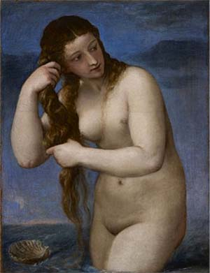 Titian (Tiziano Vecellio): Venus Rising from the Sea, 1520, Oil on canvas (29 13/16 x 22 11/16 in.) National Galleries of Scotland, Edinburgh.