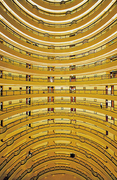 "Andreas Gursky. Shanghai, 2000 • Chromogenic color print.  • 9' 11 5/16""x 6' 9 1/2"" (280 x 200 cm).  • Lent by the artist, courtesy Matthew Marks Gallery, New York, and Monika Sprüth Galerie, Cologne  • © 2001 Andreas Gursky."