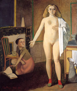 Balthus: La Chambre, 1947-1948 • oil on canvas, cm. 190 x 160,5 • Washington, Hirshhorn Museum and Sculpture Garden,  • Smithsonian Institution • gift of Joseph H. Hirshhorn Foundation • Photo: Lee Stalsworth • Photo courtesy of Palazzo Grassi , Venice