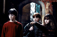 Daniel Radcliffe as Harry Potter, Rupert Grint as Ron Weasley and Emma Watson as Hermione Granger in Warner Brothers' Harry Potter and The Sorcerer's Stone