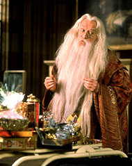 Richard Harris as Professor Dumbledore in Warner Brothers' Harry Potter and The Sorcerer's Stone