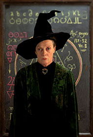 Maggie Smith as Professor McGongall in Warner Brothers' Harry Potter and The Sorcerer's Stone