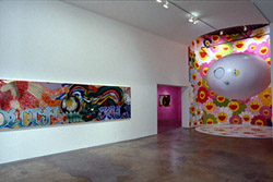"Installation View (left to right)  • Gajin Fujita's ""South Cali"", 2001 •  partial view of Jeff Burton's ""Untitled # 149 (upholstery tacks)"", 2001 • Takashi Murakami's ""Hyakki-Yagyou"", 2001 • Photo: Herbert LotzPhoto Courtesy of SITE Santa Fe"